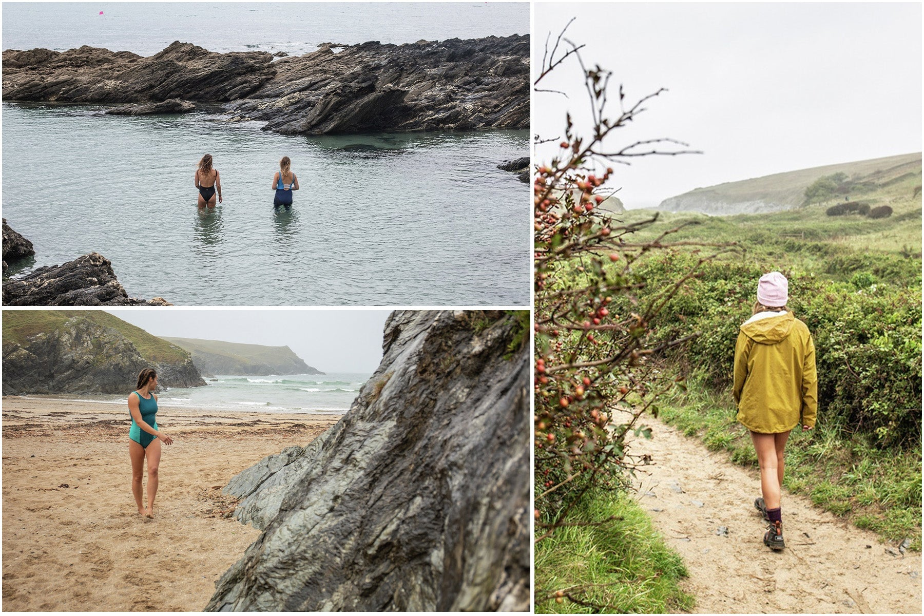 Split image of women walking and swimming on the south west coast path