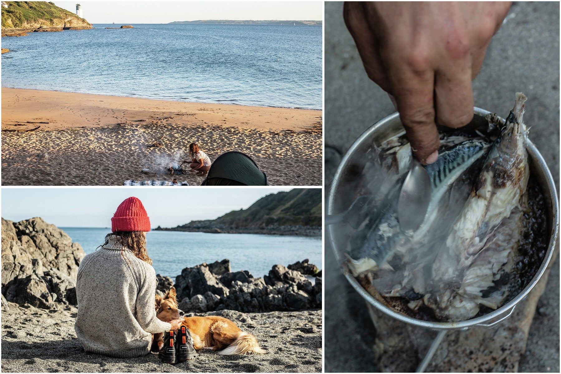 Split image of the author cooking up some mackerel on a beach fire.