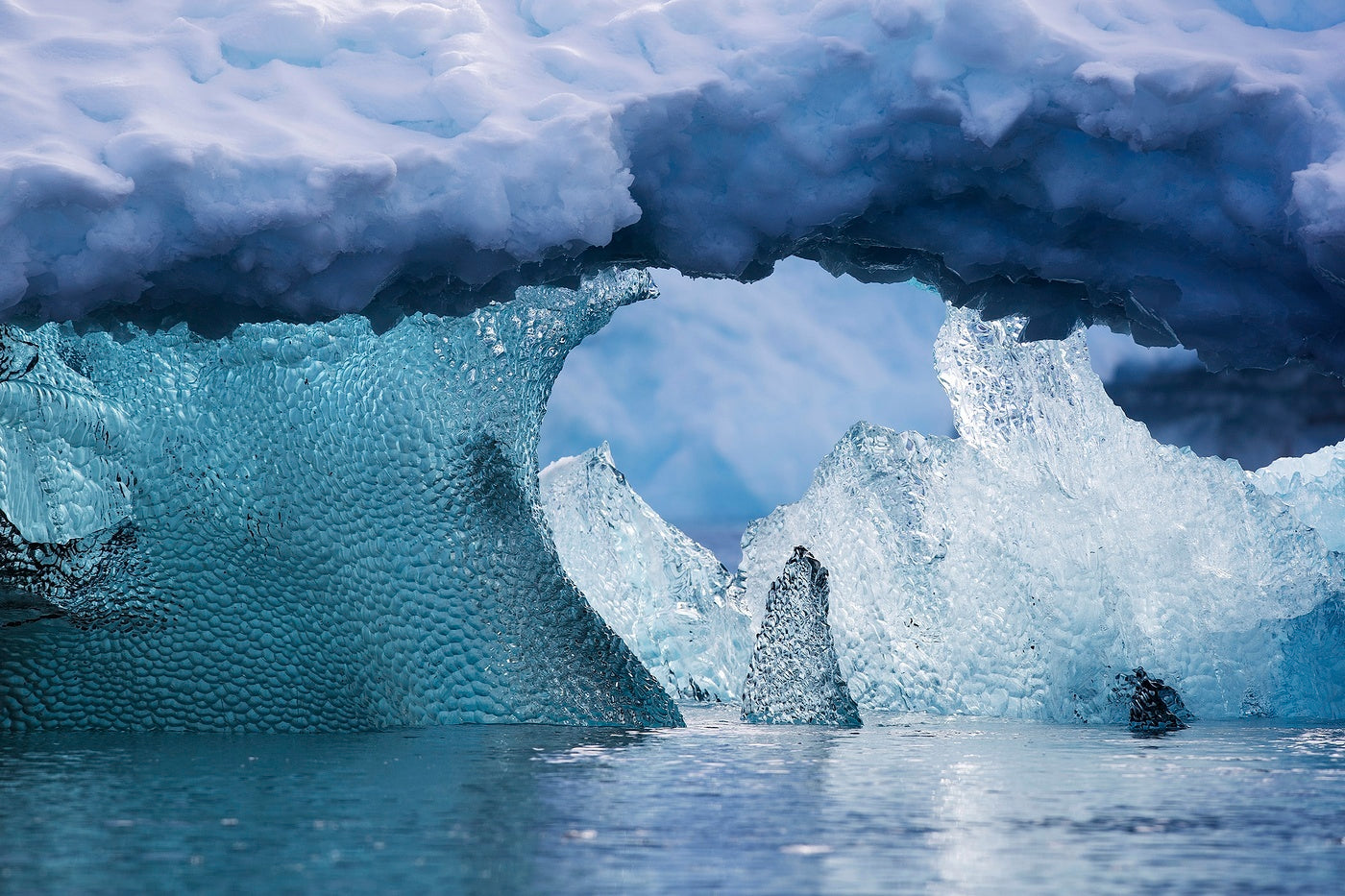 Ice formations in Antarctica sculpted by the heat of the sun