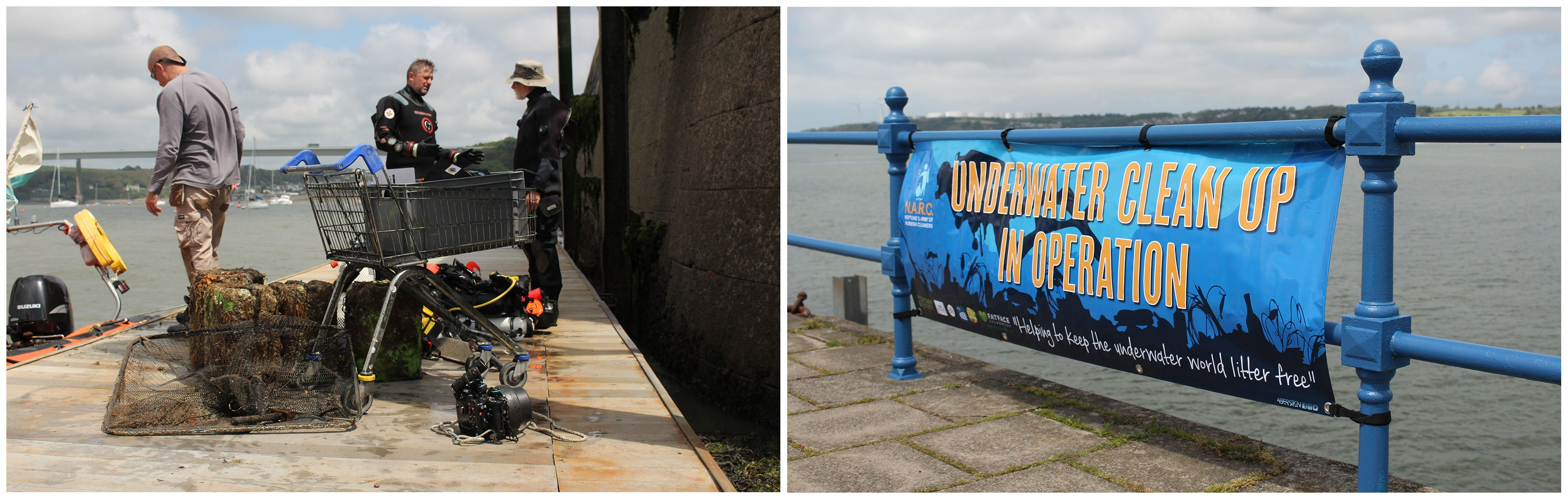 """Left: Marine litter on harbour wall including shopping cart, lobster pots and fishing net, Right: Banner tied to harbour fence saying """"Underwater Clean Up in Operation"""""""