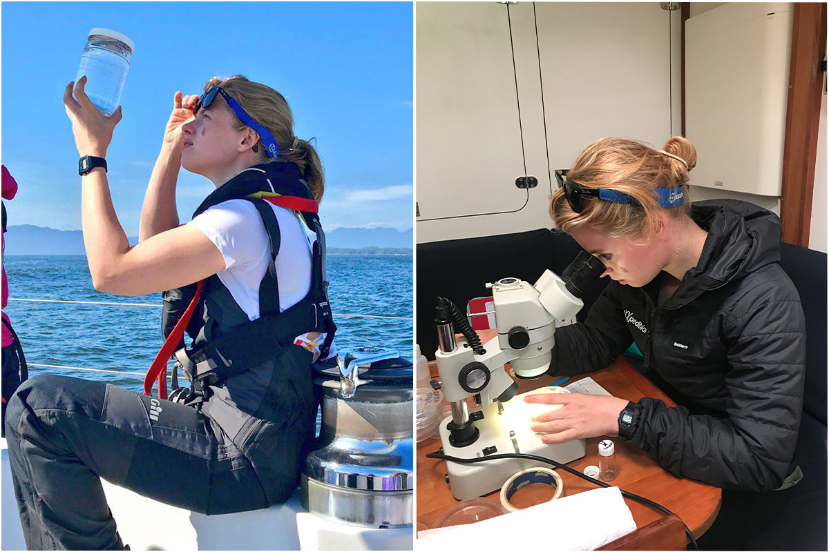 Dr Imogen Napper searching for microplastics in samples of seawater