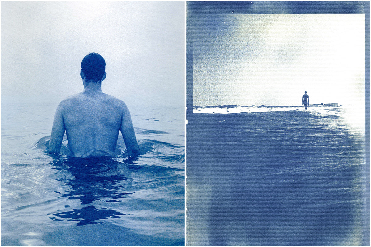 Cyanotype image of a solitary man in the sea by Ines Ambrosio