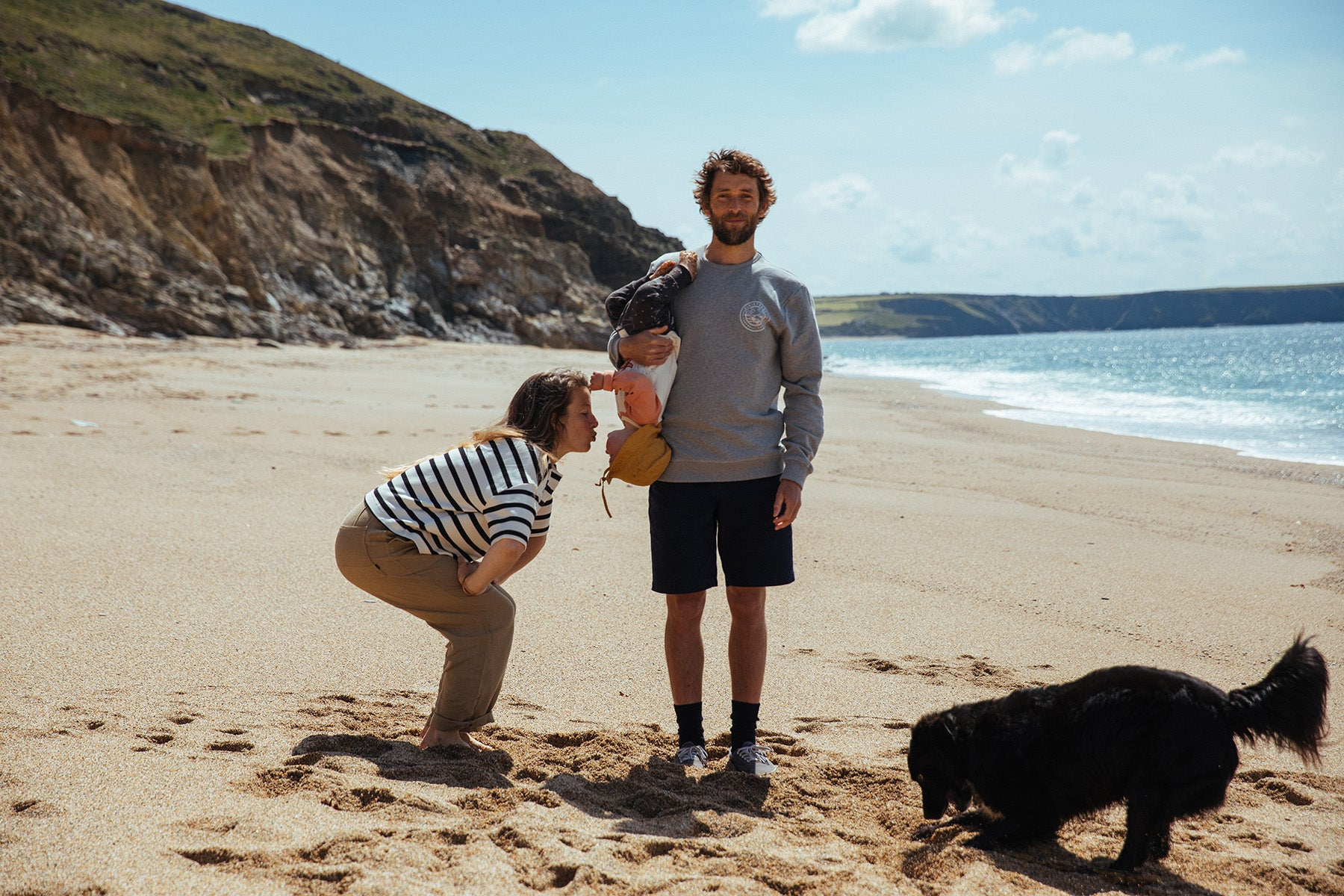 James Bowden, Hannah Stocks and their daughter Billie finding seclusion and silliness close to home