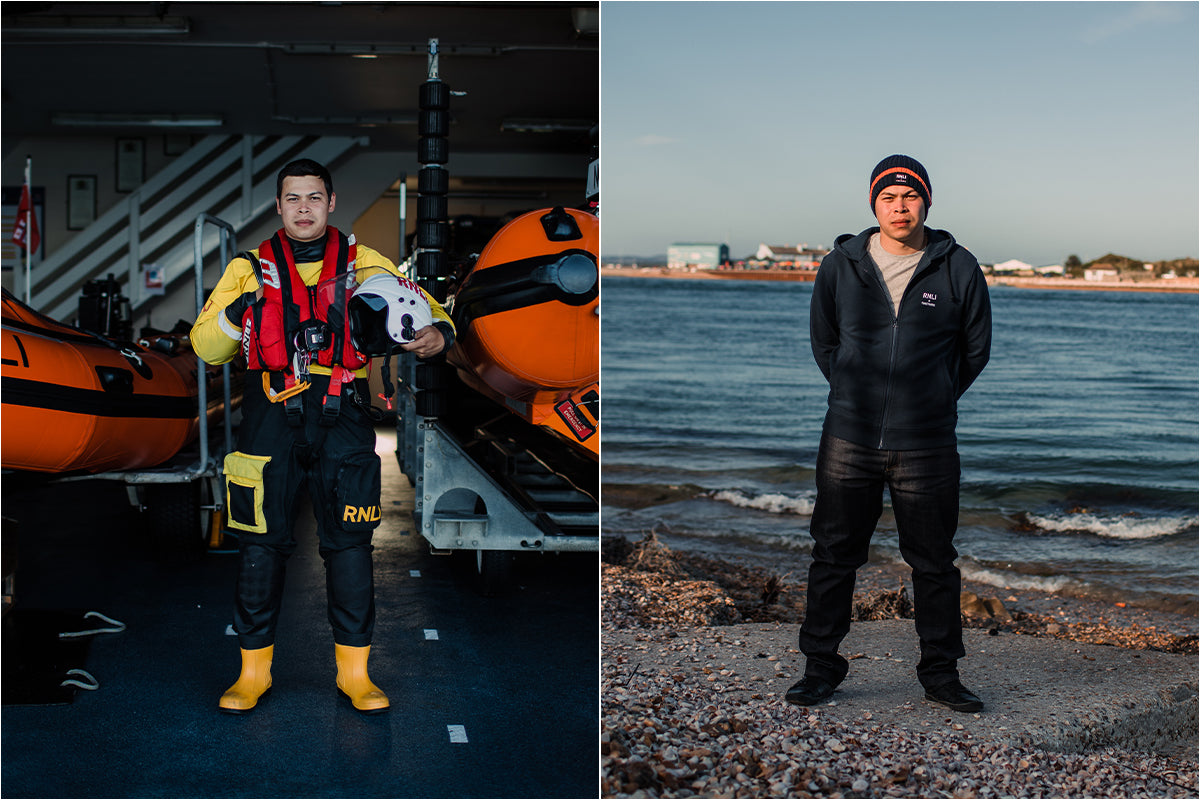 Josh Owens in his RNLI kit and wearing the RNLI + Finisterre organic cotton hoody