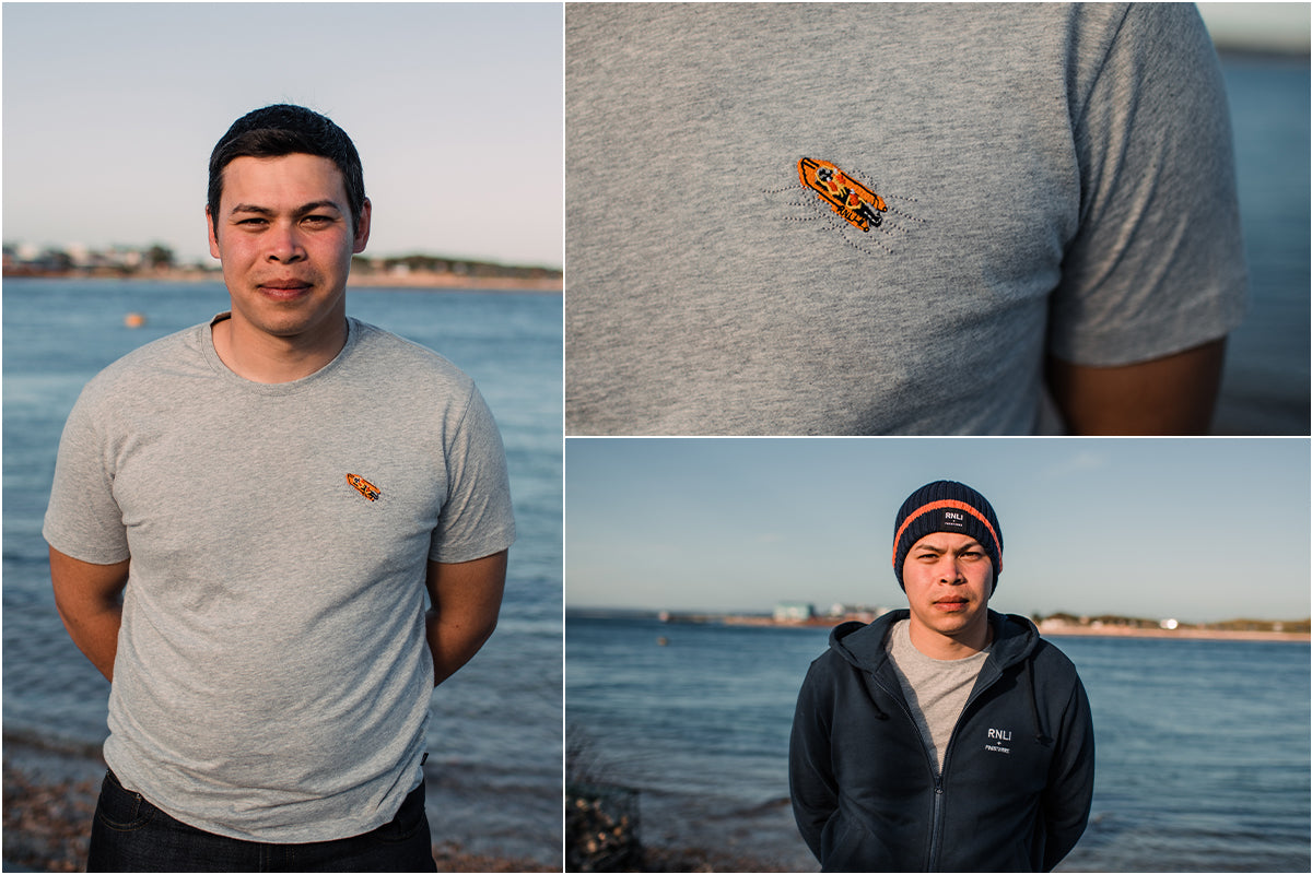 Josh Owens wearing the RNLI + Finisterre embroidered d-class tee