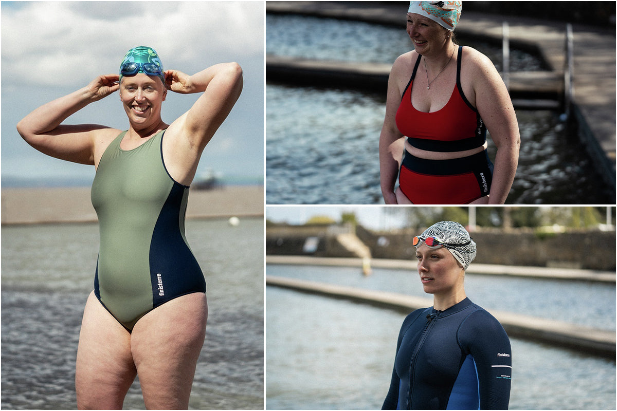 Laina Rowan and Laura getting ready for their swim in Finisterre women's swimwear