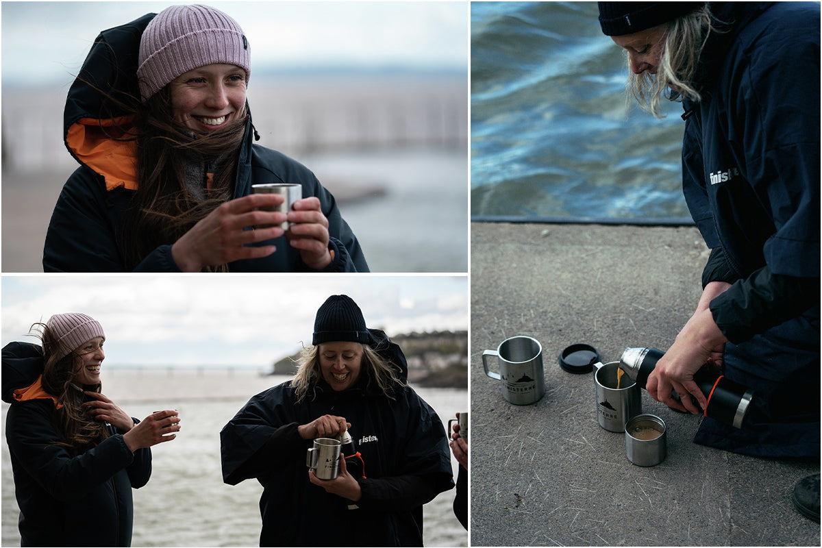 Laina Rowan and Laura warm up with a hot cup of tea after their swim
