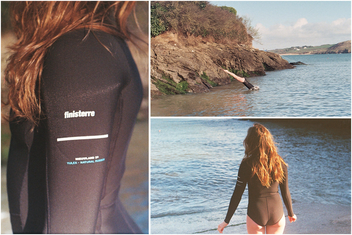 Split image of Lottie diving into the waters of cornwall and wearing the Finisterre Yulex 2e swimsuit