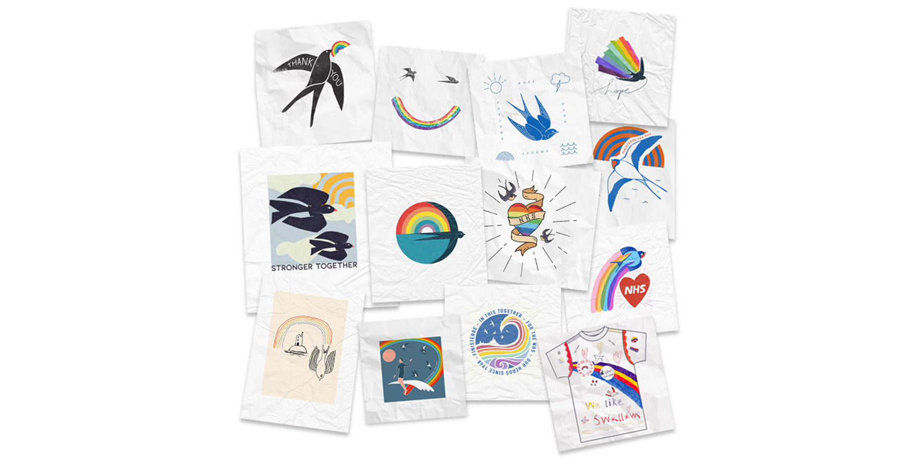 Collage of some of our favourite entries in the #FinisterreForNHS tee design competition