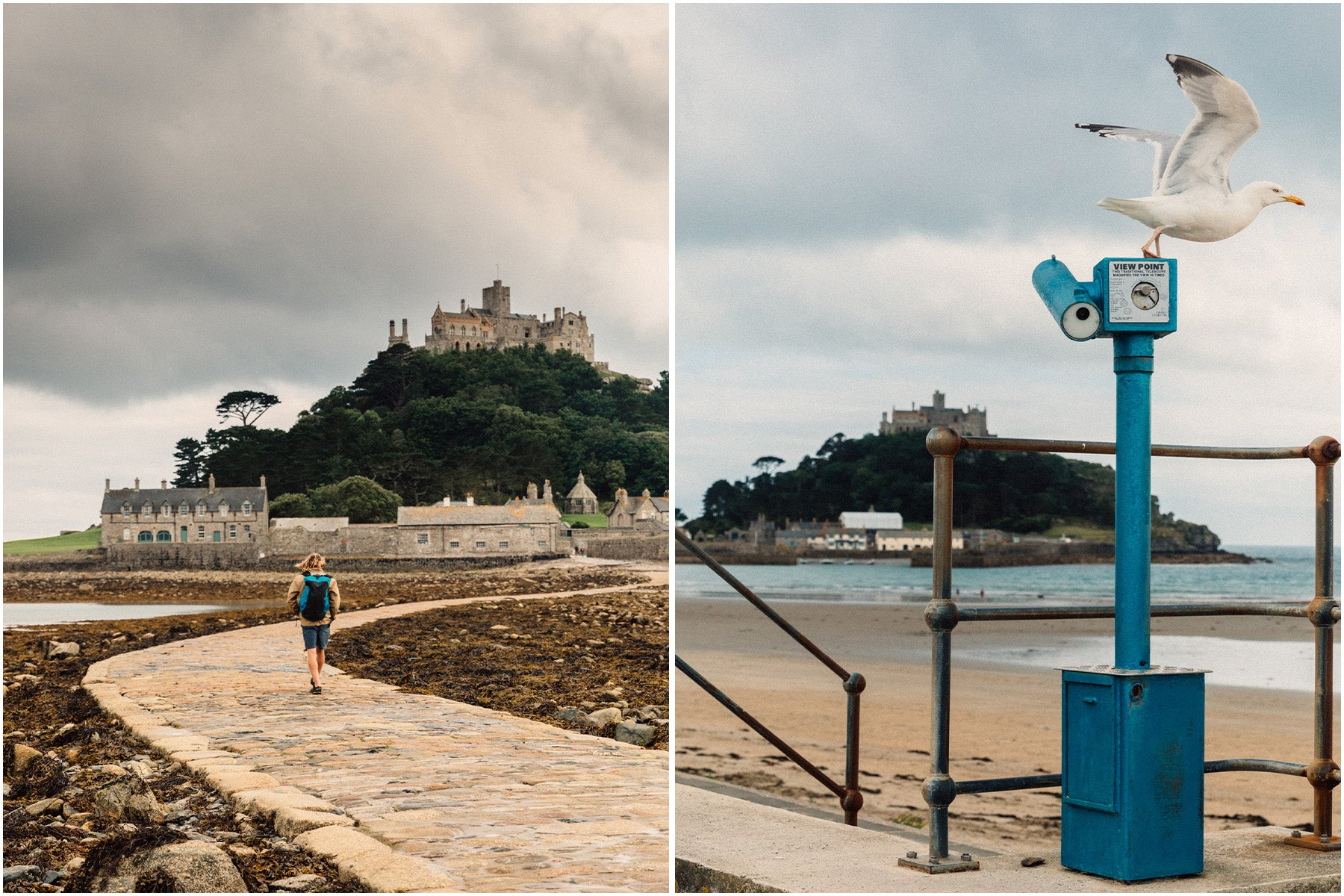 Reaching the end of the road, Pete crosses the causeway to St Michaels Mount