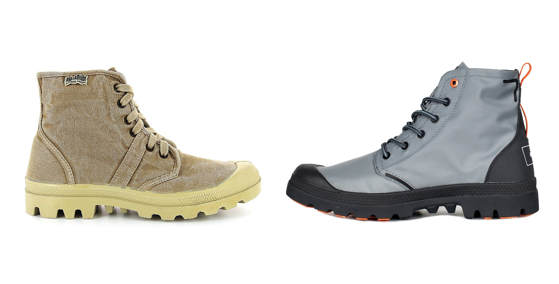 Palladiums first organic cotton boot, and the latest sustainable version in collaboration with Finisterre
