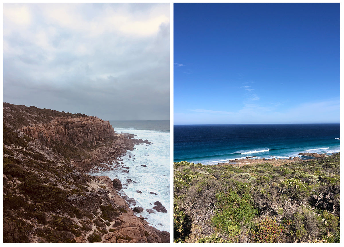 Left photo of the sea cliffs at Wilyabrup and right hand photo of the ocean with blue sky in Western Australia