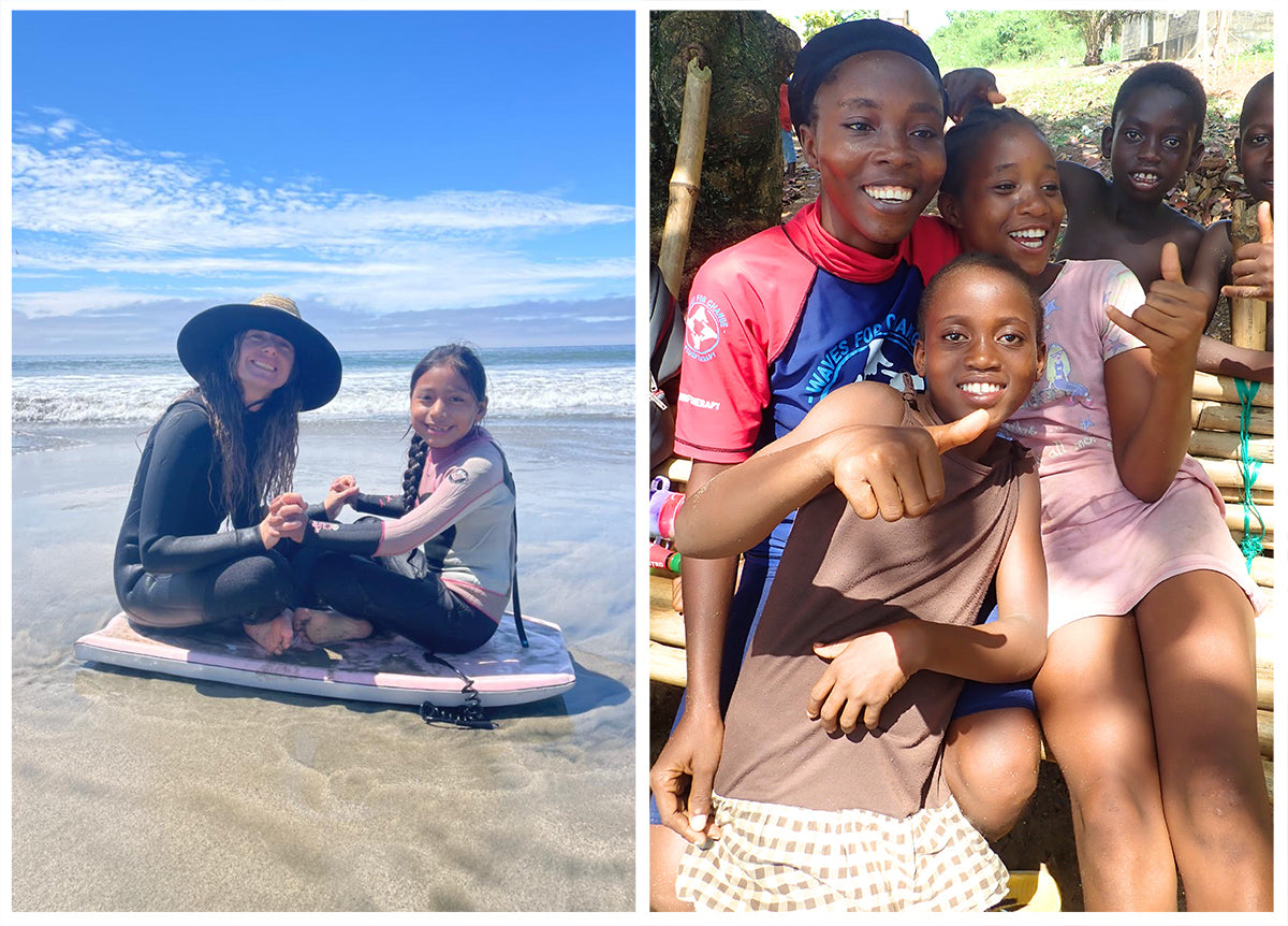 Maira sat on a bodyboard with a girl on the beach. Right photo a group of girls including Alice in Liberia
