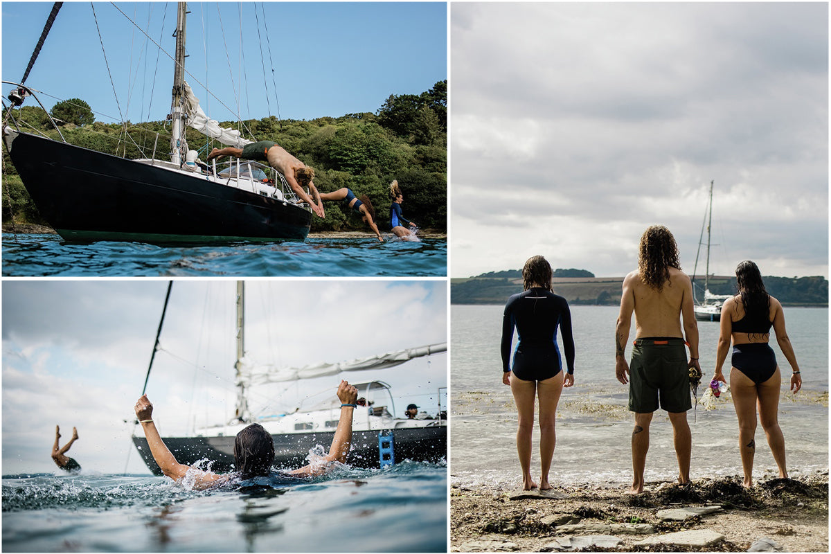 Chloe and friends swimming around the boat in Finisterre swimwear