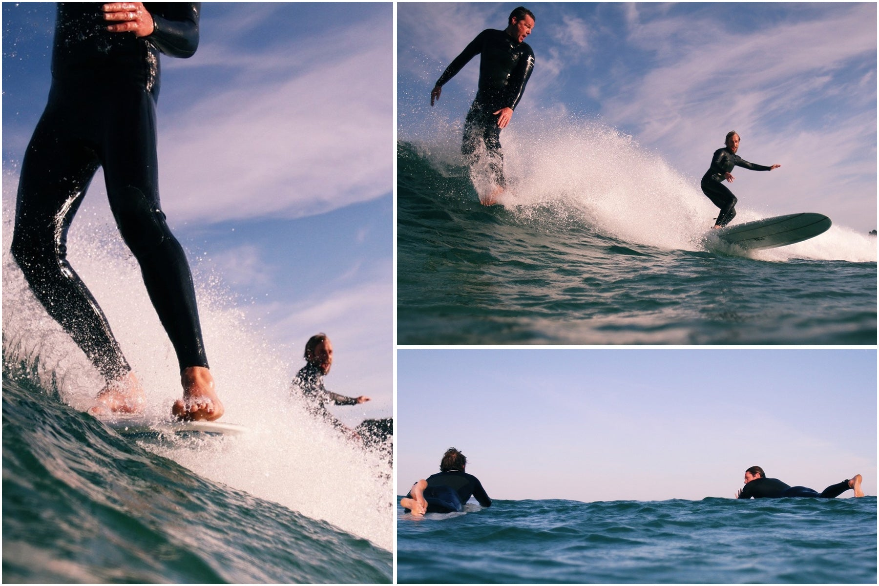 Sam Bleakley and Mike Lay Sharing some tasty waves at their local beach in west Cornwall