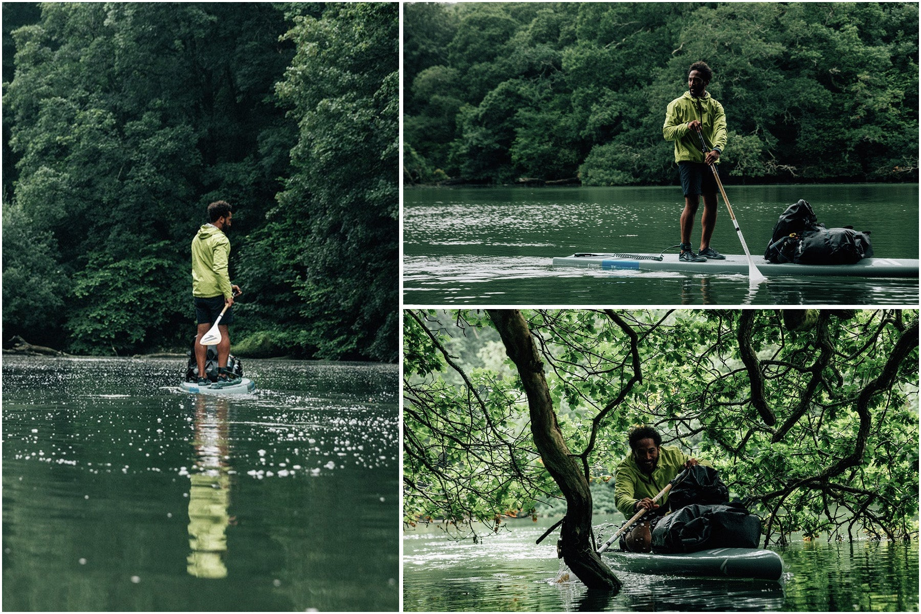 Sean White paddling up the river in the rainbird jacket and with a SUP piled with Finisterre Drift bags