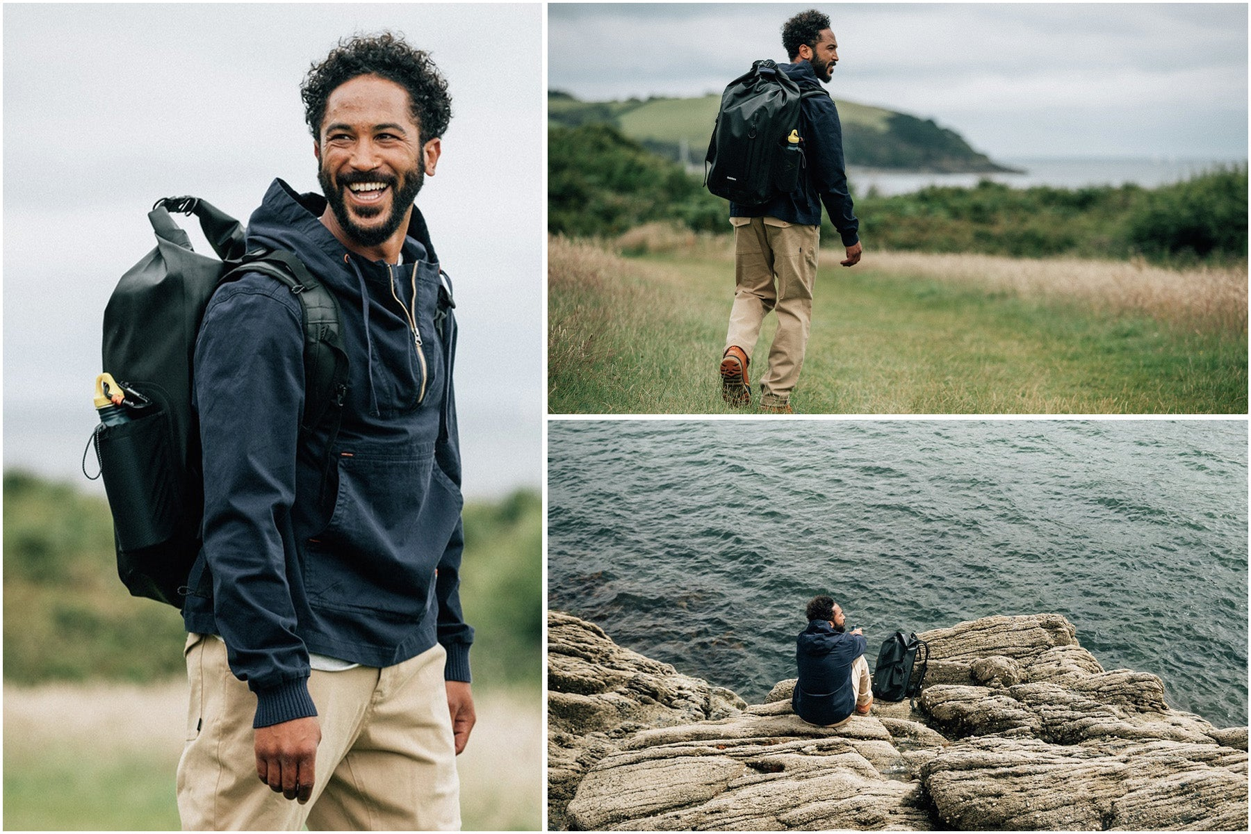 Sean White sets out for his days adventure with the drift backpack and lenting smock