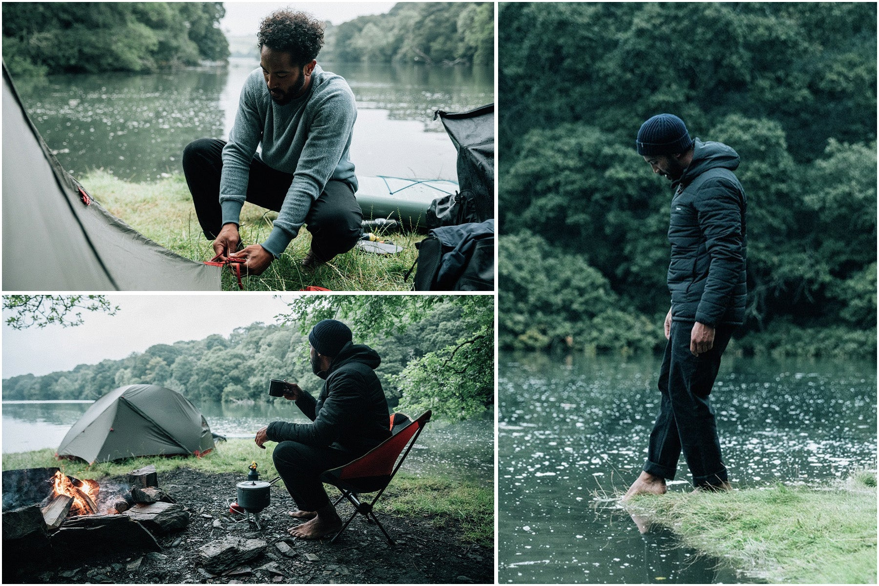 Sean White setting camp on the banks of the river wearing the Nimbus jacket