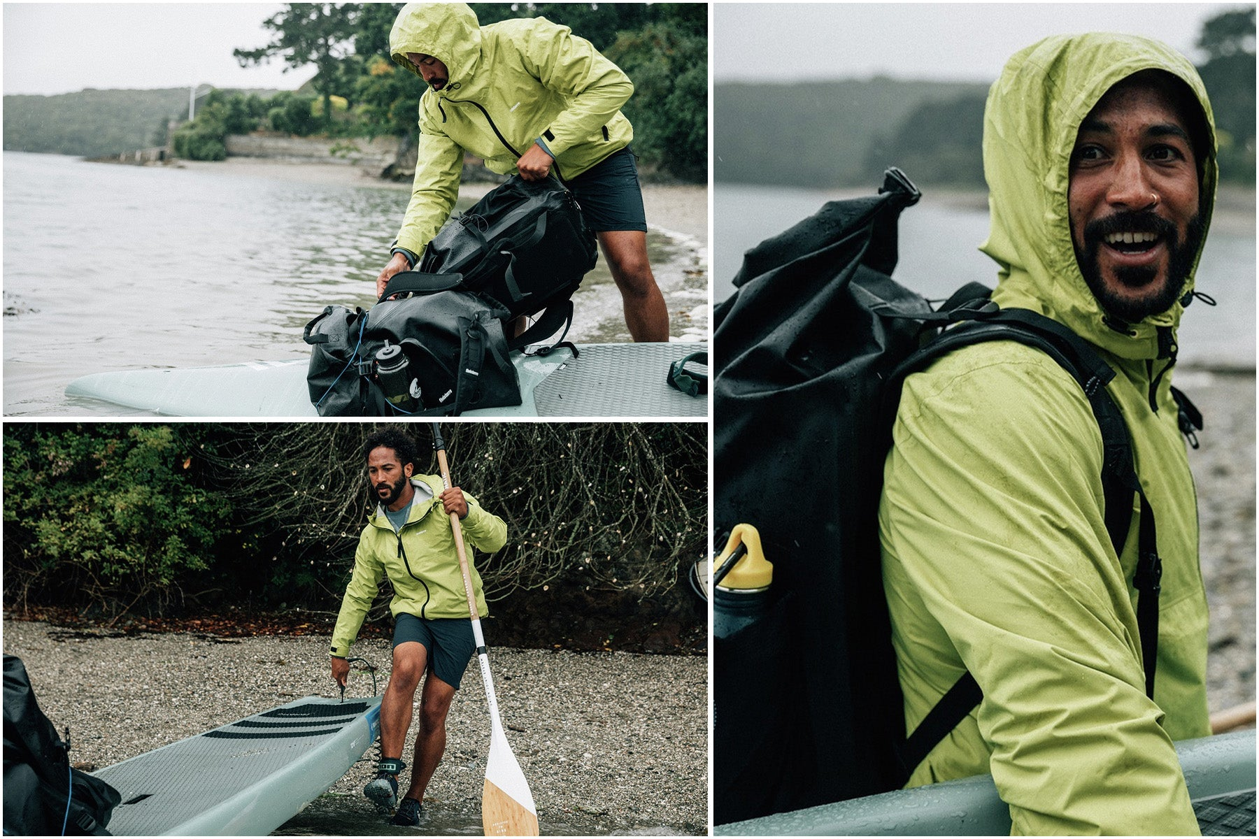 Sean White wearing the Rainbird jacket sets out on his solo paddleboard adventure