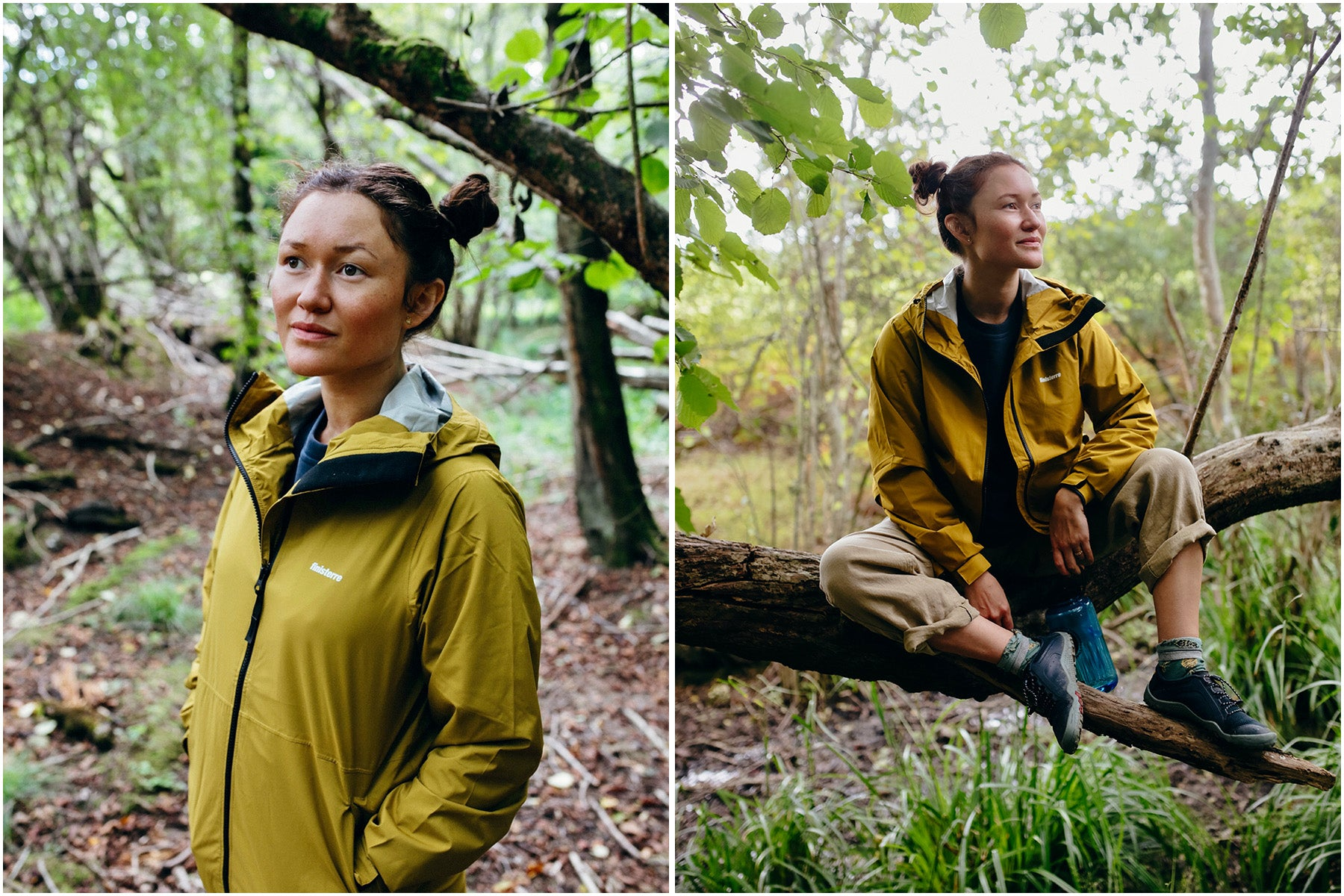 Serena Lee wearing the recycled Rainbird waterproof Jacket by Finisterre