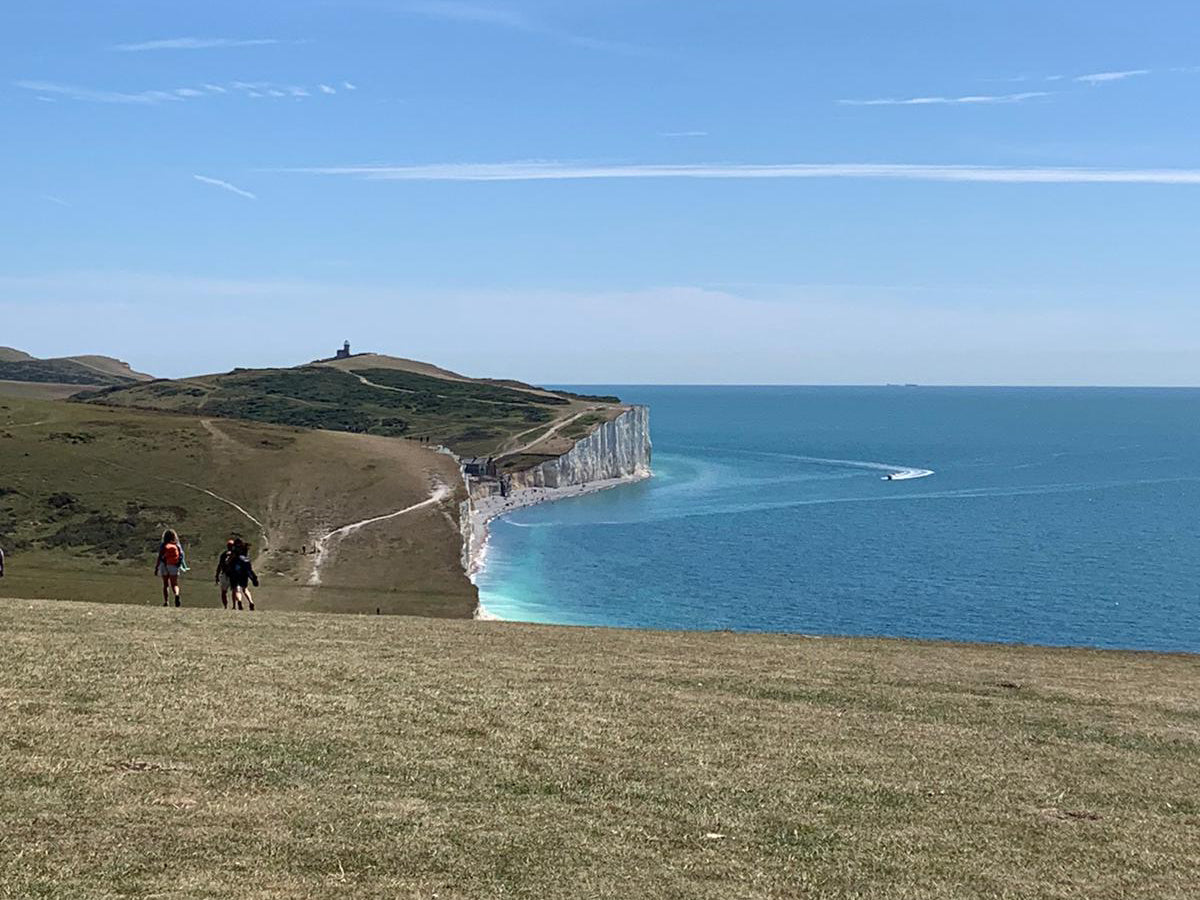 The coast path and white cliffs of the Seven Sisters