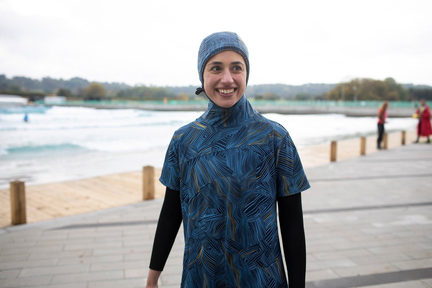 Shirin Gerami testing the Finisterre Seasuit at the Wave in Bristol