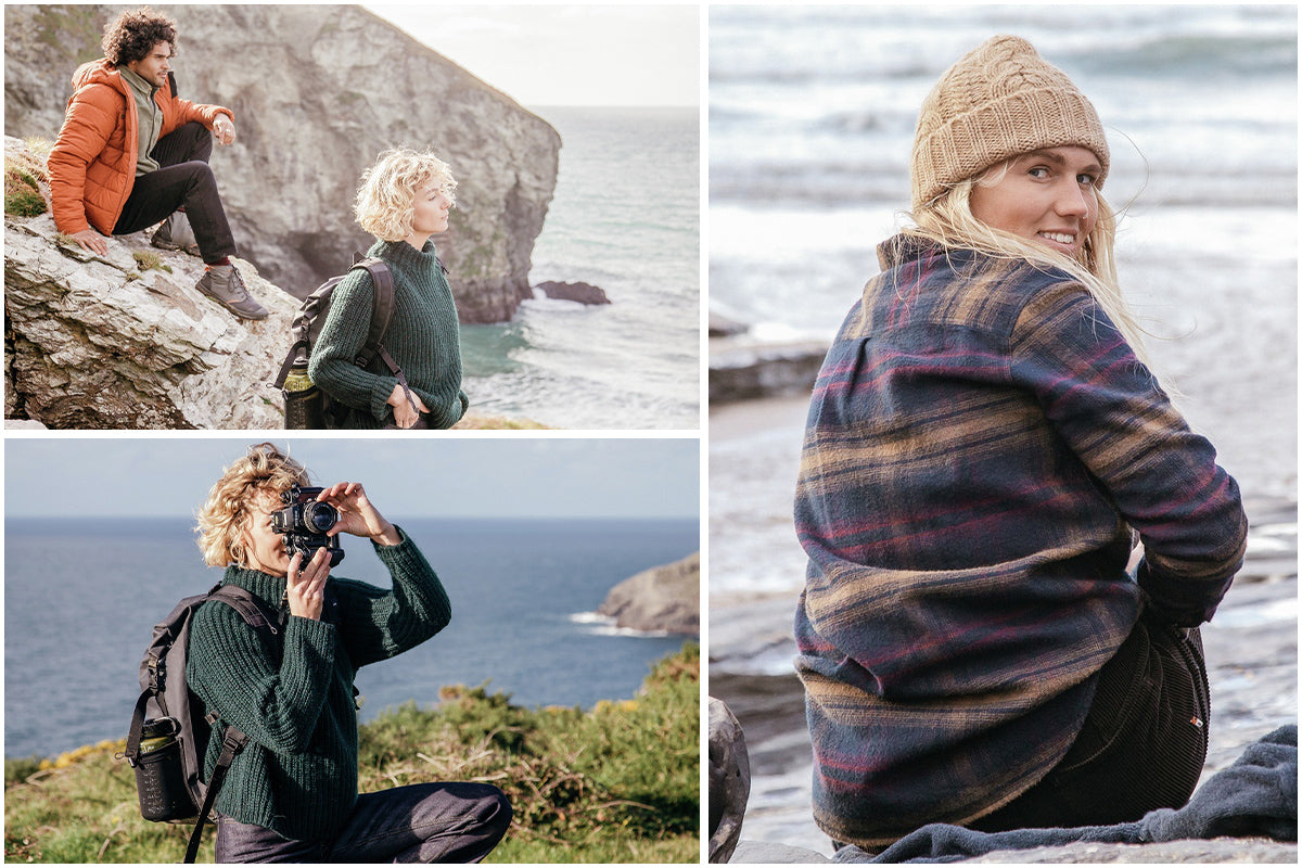 Young people on the coast wearing Finisterre clothing