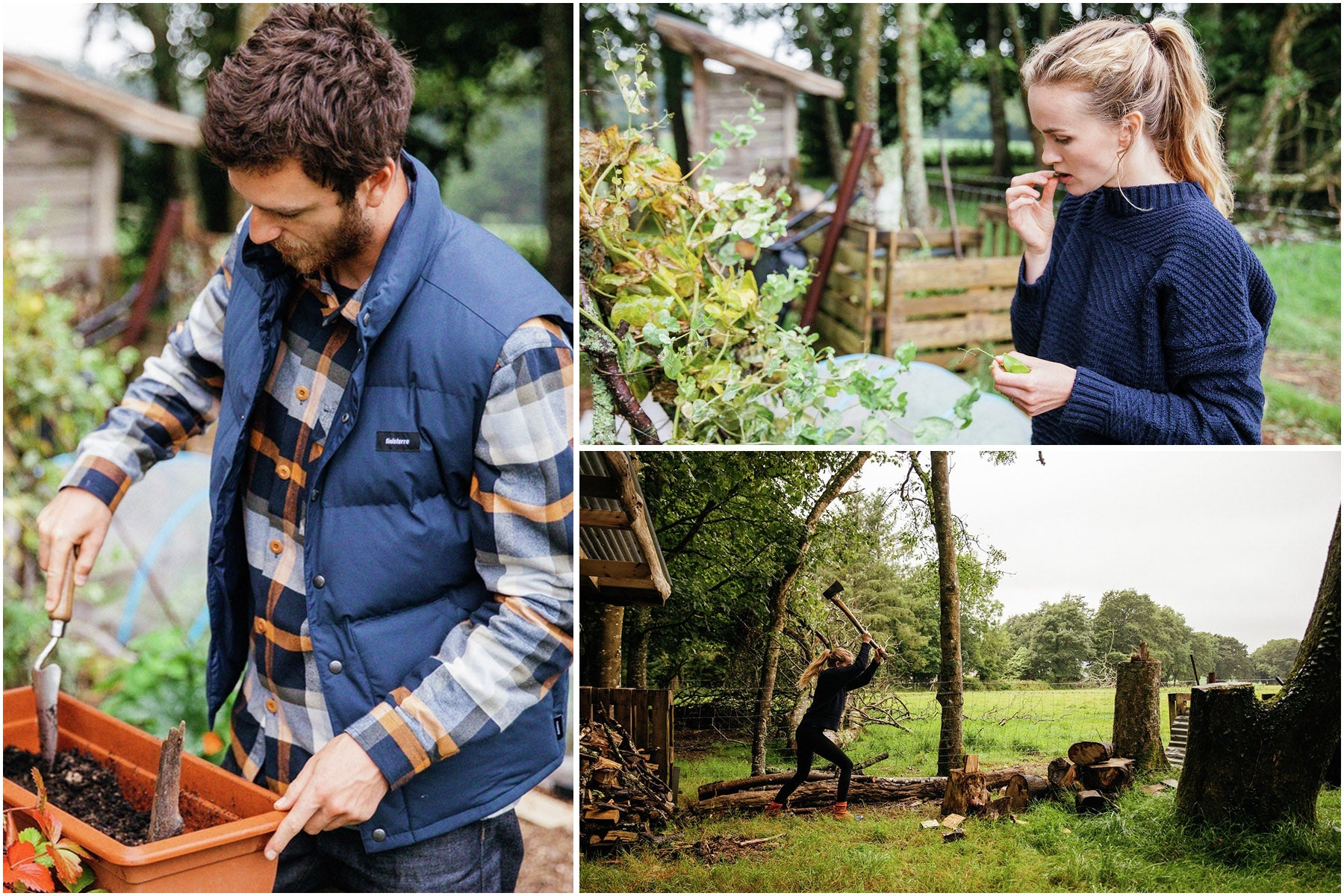 Sam and Meg Glazebrook wearing Finisterre clothing and working in their vegetable garden