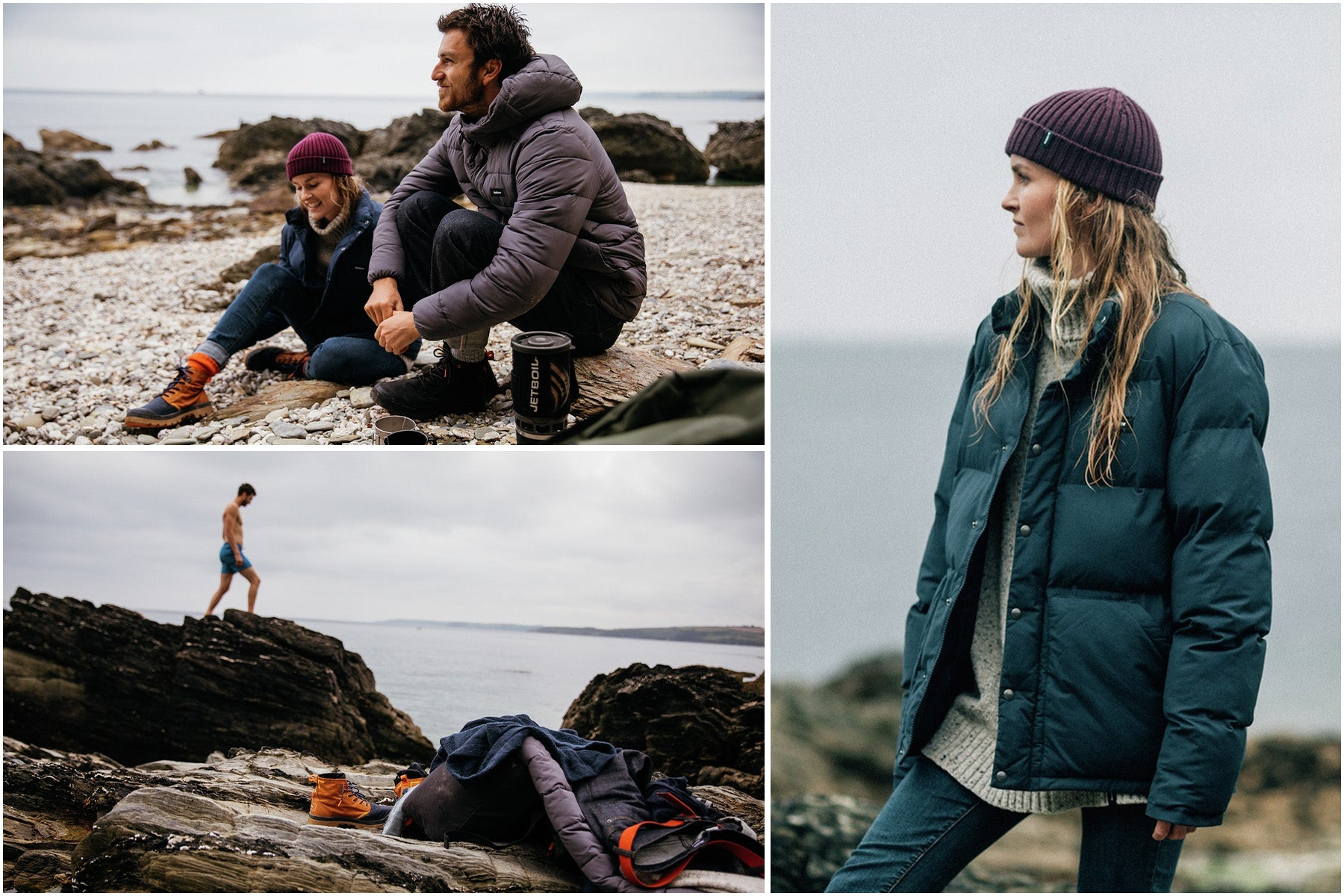 A couple spending time on a beach wearing Finisterre clothing