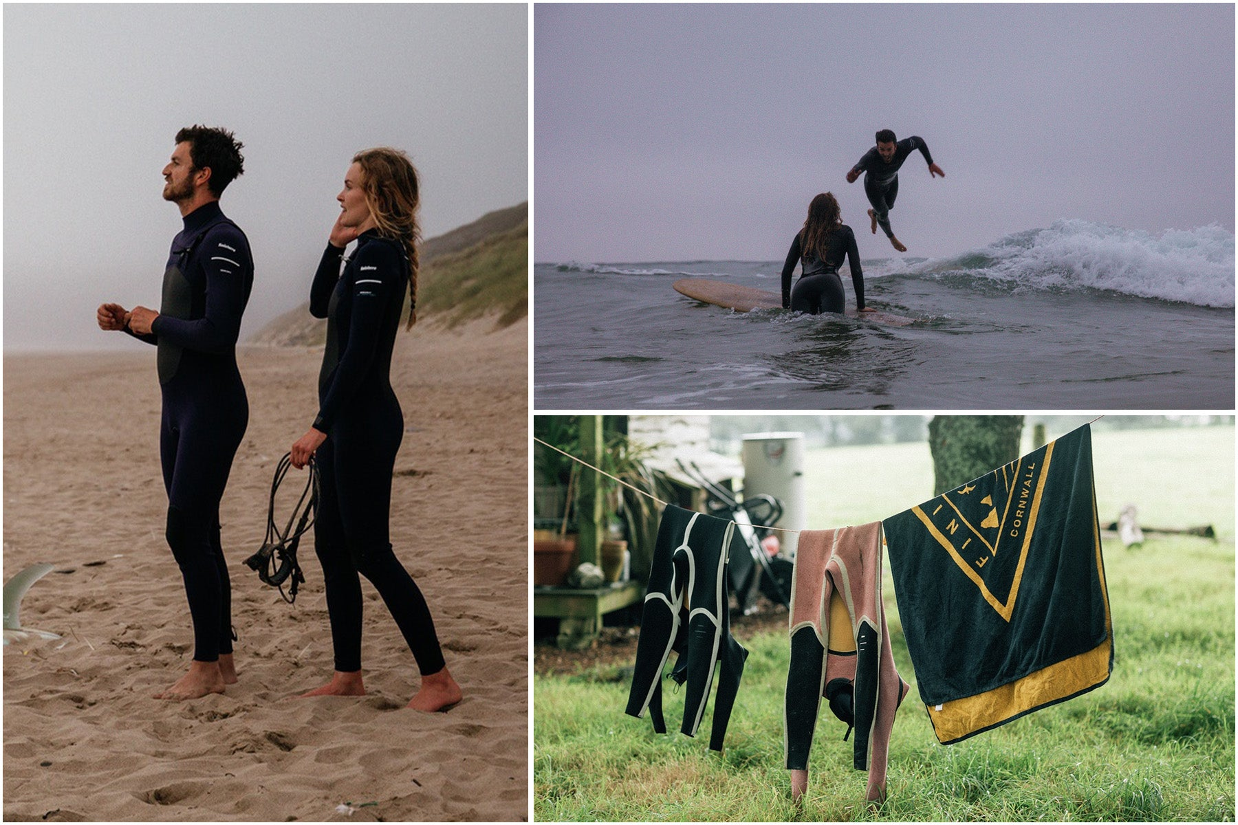 A couple wearing Finisterre wetsuits surfing and laughing together