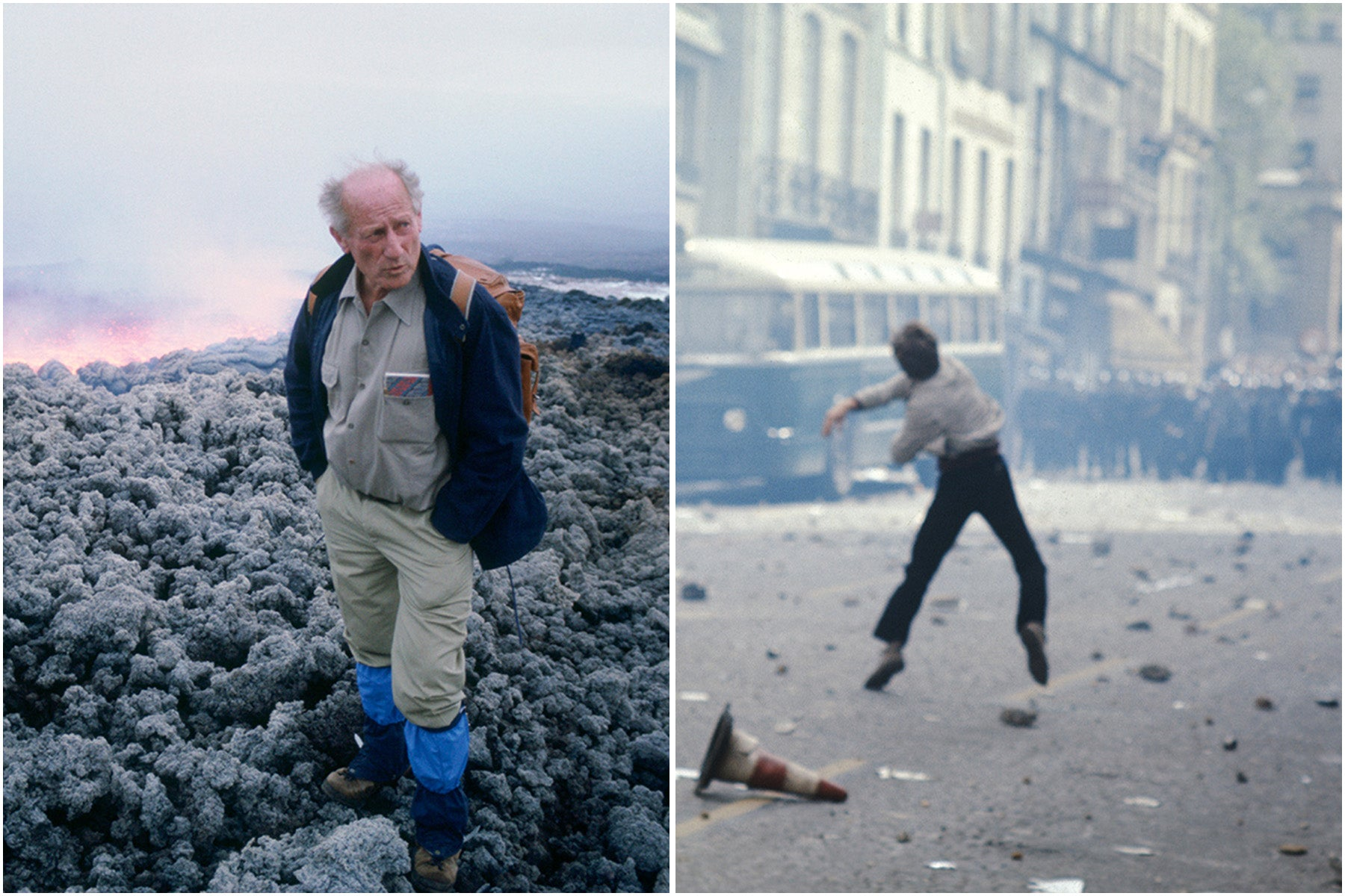 Split image of French Volcanologist Haroun Tazieff and a student protester in the 1968 paris riots