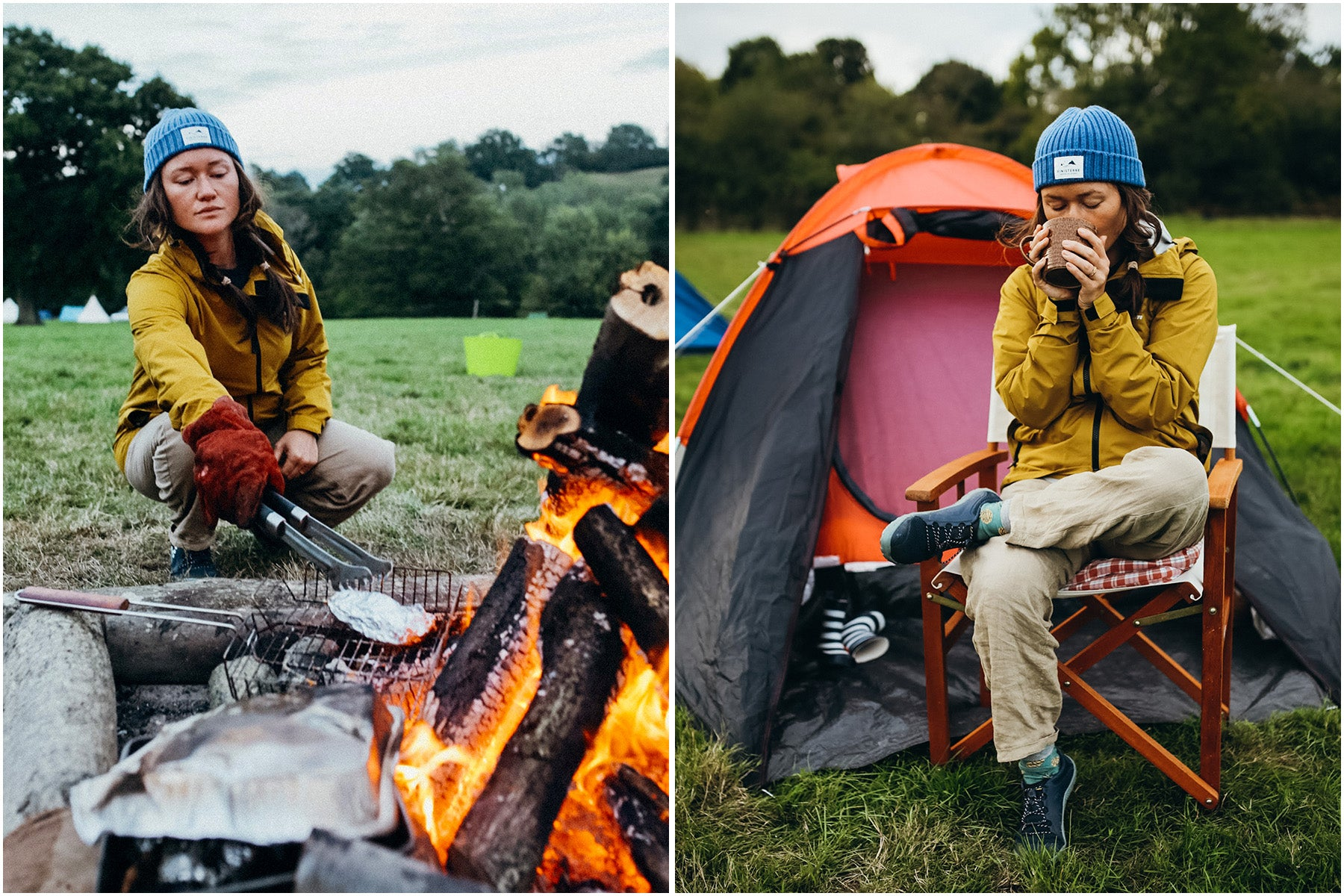Split image of Serena cooking on a camp fire and sipping her warm tea