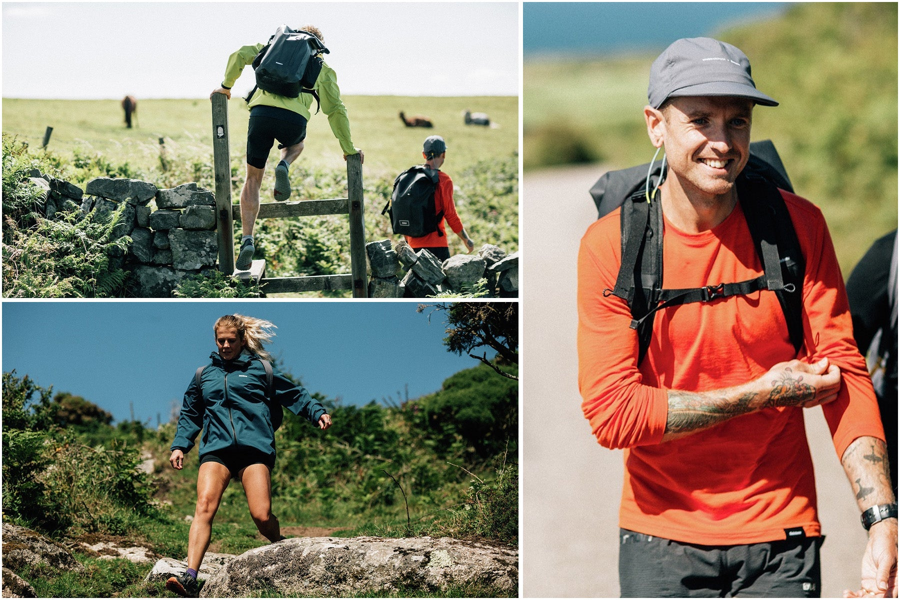 Split image of fastpackers running in Finisterre Merino and Rainbird jacket