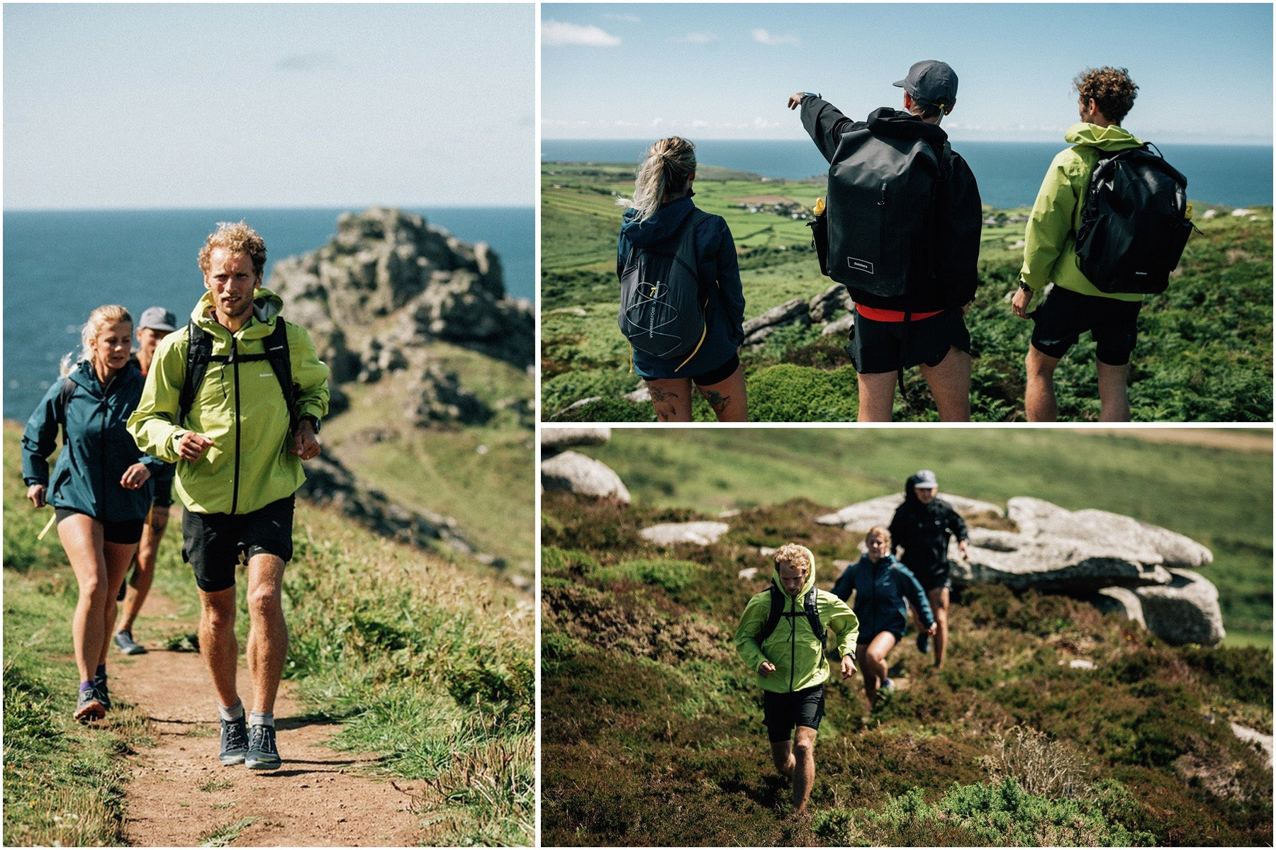 Split image of runners exploring the coastal trails
