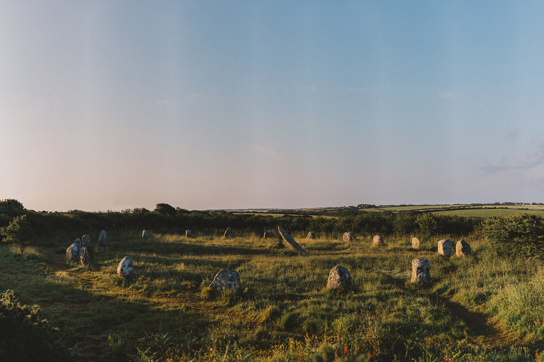The Boscawen-ûn stone circle welcomes the morning light in west Penwith