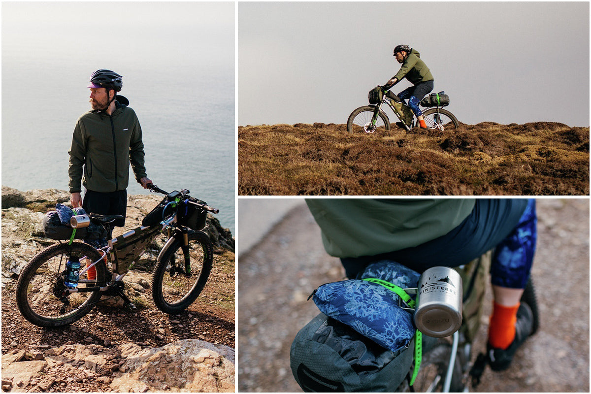 Todd sets out on his bike packing adventure with the NHM + Finisterre Poncho