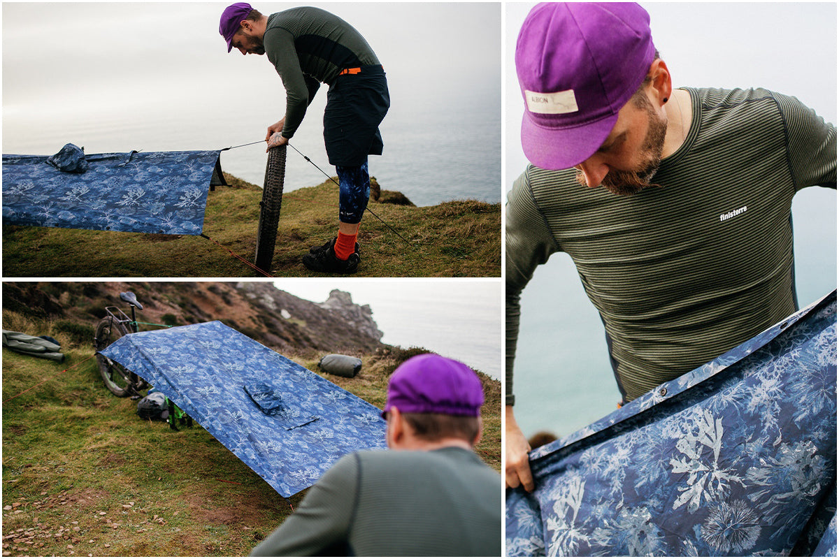 Todd sets up the poncho as a temporary shelter atop the cliffs of Cornwall