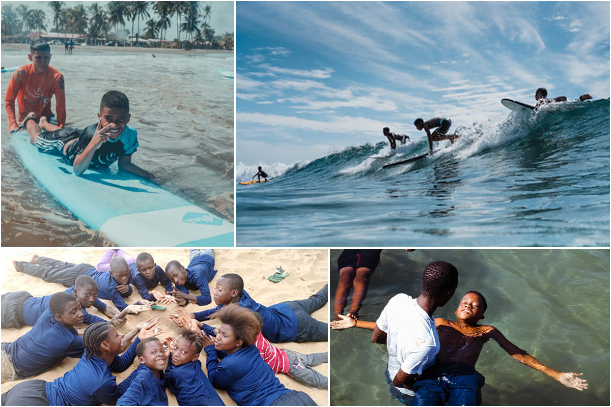 Collage of images of Wave Alliance participants surfing and talking together