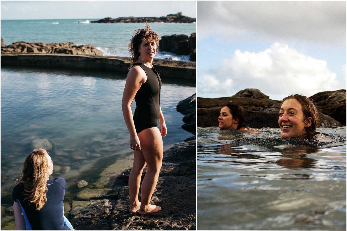 Poppy and Jess swimming in the tidal pools in the new Finisterre Yulex swimsuit