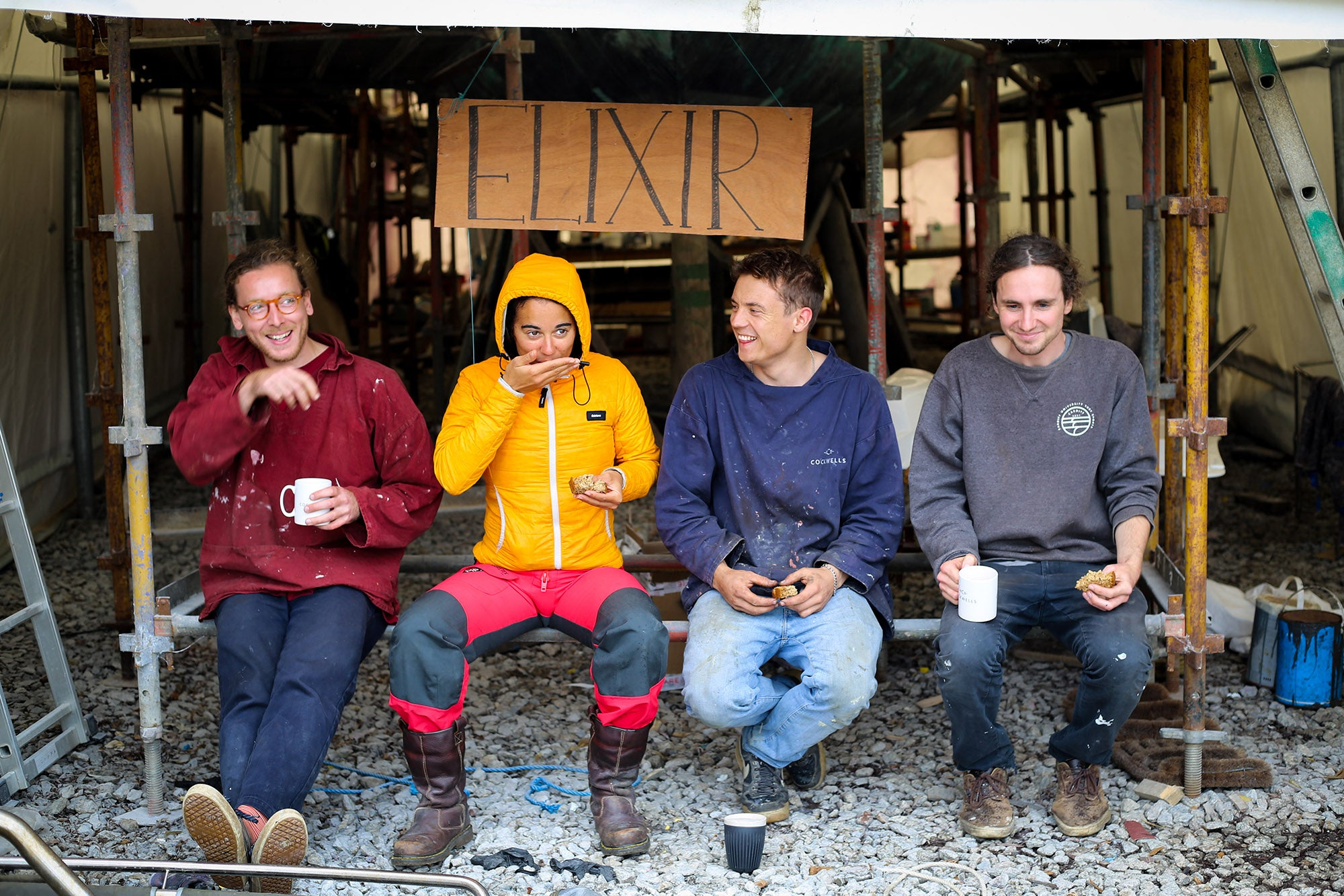 The crew take a tea break whilst renovating elixir