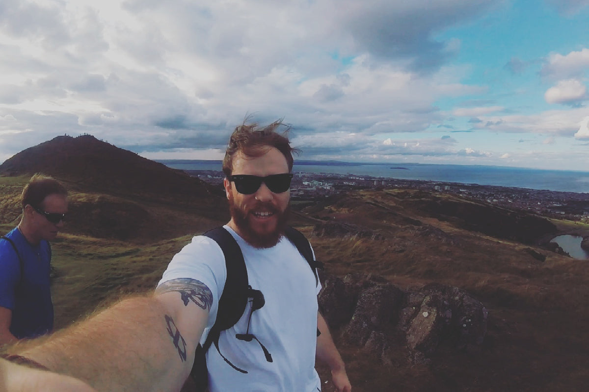 Edinburgh store manager Jack with a selfie from atop Arthur's Seat