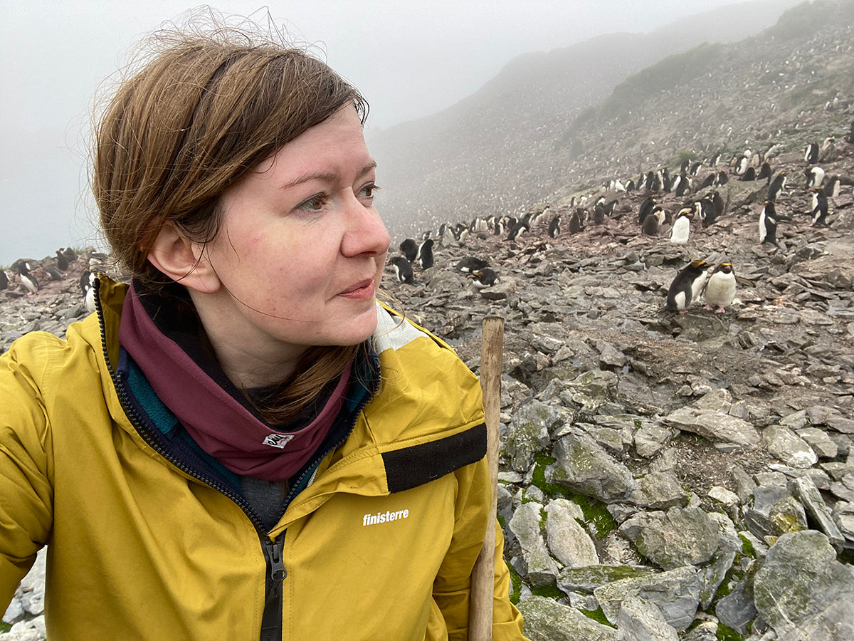The selfie that started the story: Gail wearing a Finisterre Rainbird jacket with penguins in the background