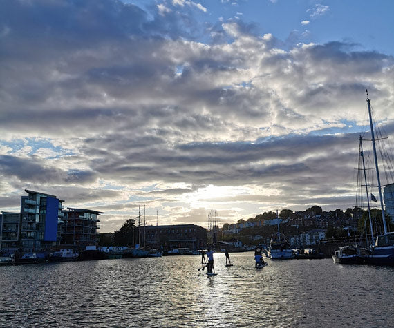 Paddleboarders in the Harbour at the heart of Bristol
