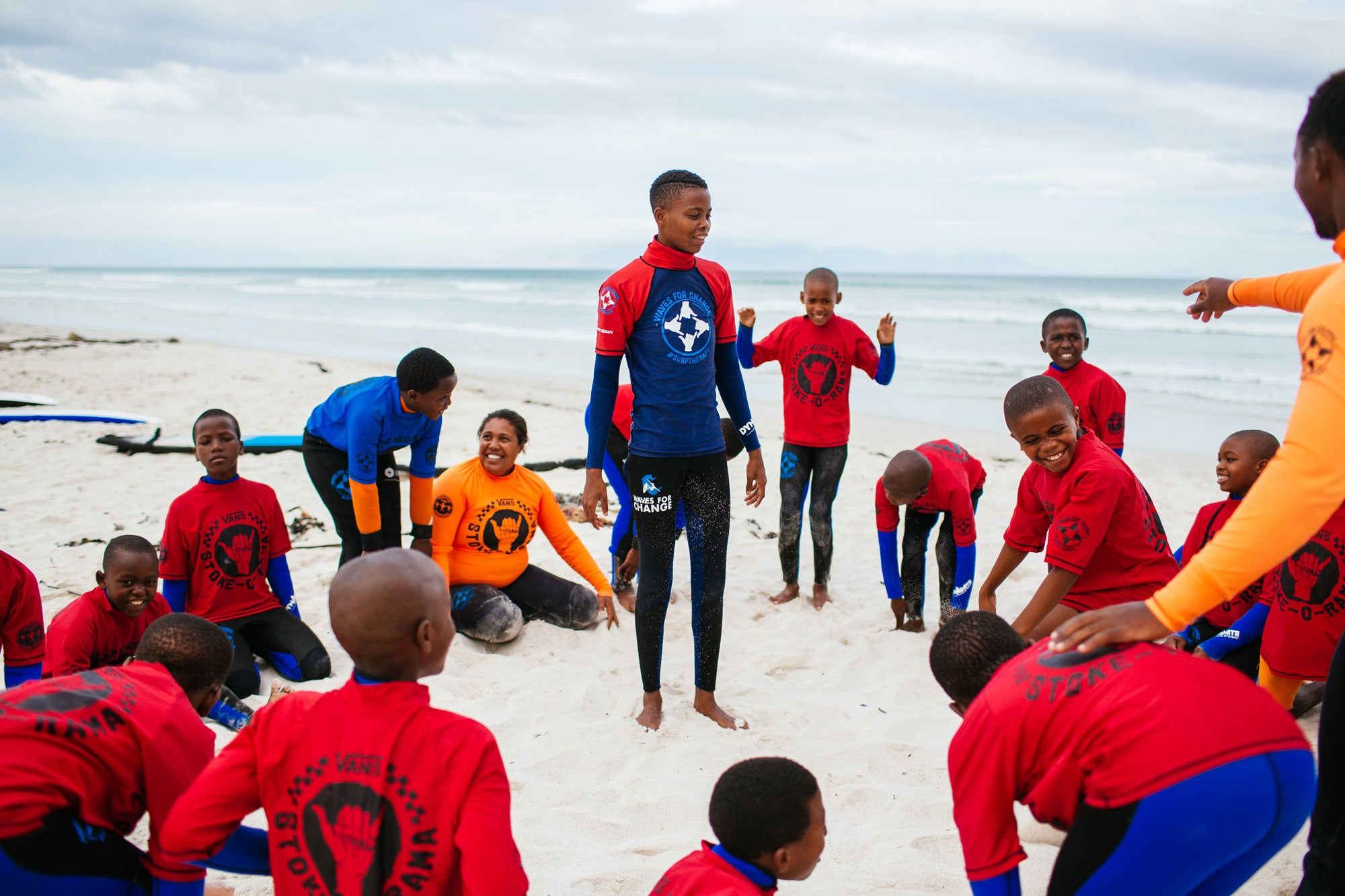 A Waves For Change session underway on the beach in South Africa