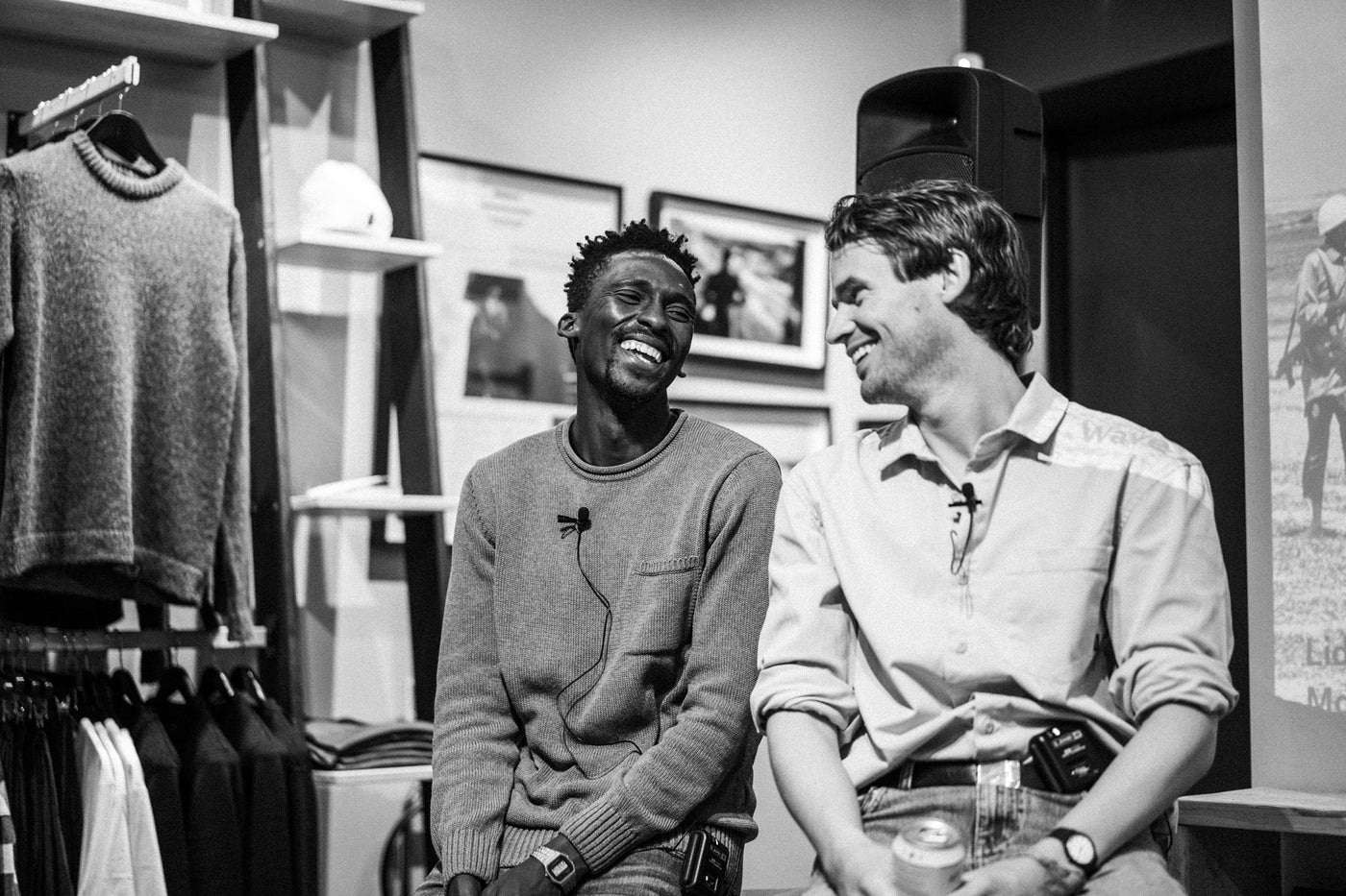 Jamie Marshall & Apish Tshetsha share a laugh at the W4C talk night in Bristol
