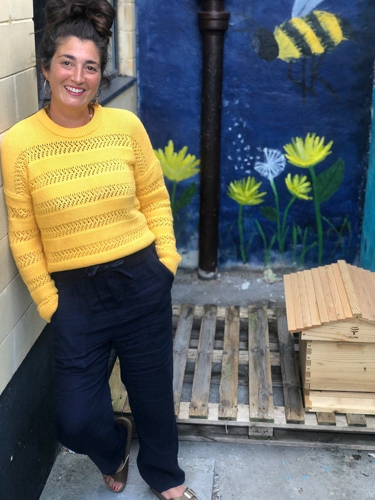 Seemah Burgess with her newly constructed beehive