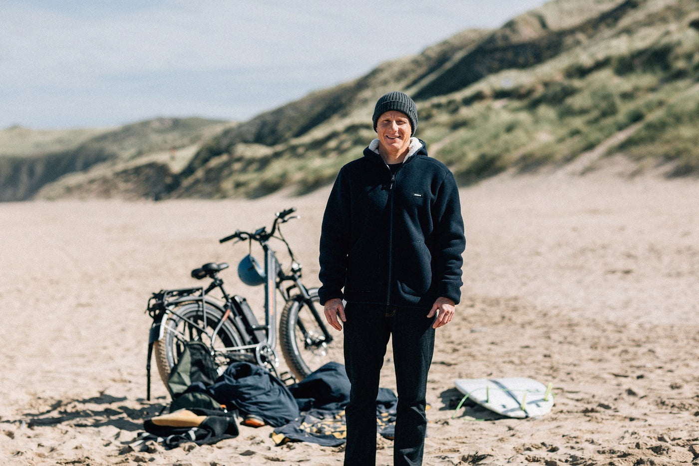 Finisterre Founder Tom Kay on an early morning surf adventure