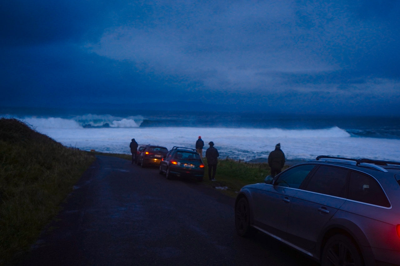 Dawn breaks over scenes of colossal waves at Mullaghmore head.