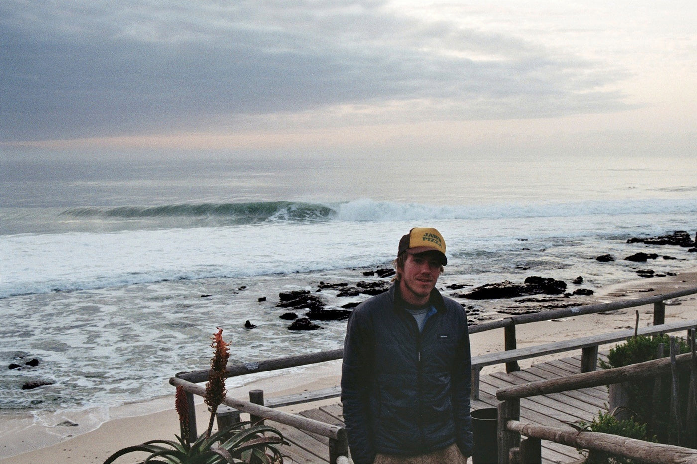 Mat Arney wearing his faithful Finisterre Etobicoke jacket at J Bay in South Africa