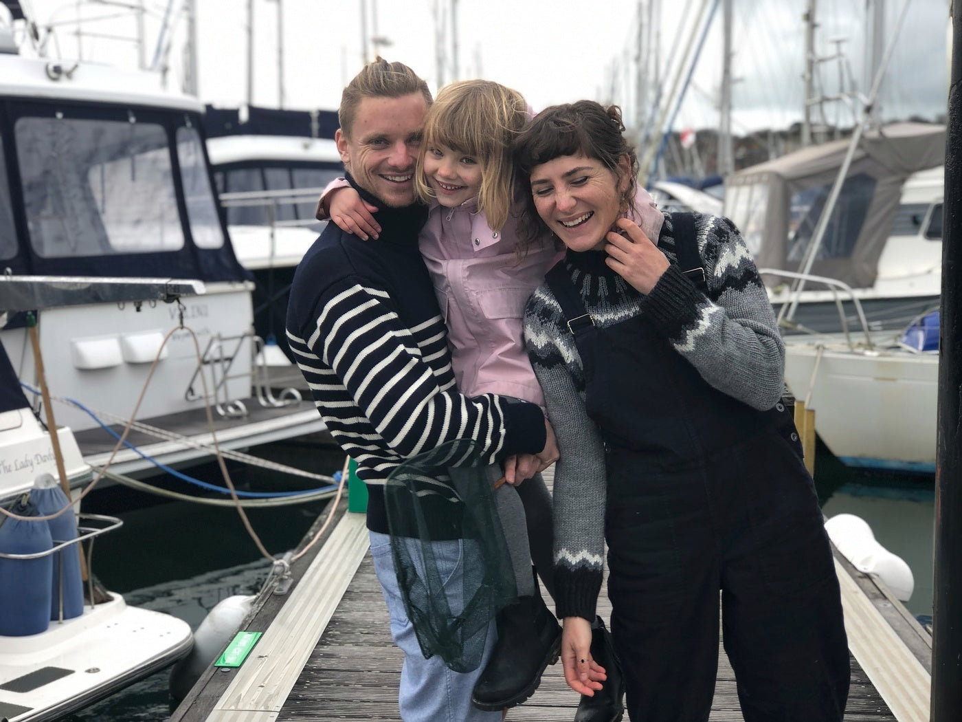 The Thompsons sharing smiles at the boatyard they currently call home